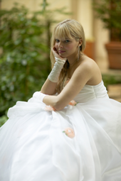 Wedding photograph of bride relaxing