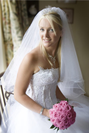 Happy, beautiful bride