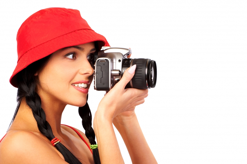 Confident, happy photographer