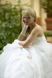 Wedding photograph of bride relaxing